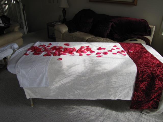 Rose petal massage for Valentine's day